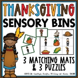 Thanksgiving Sensory Bin Matching Mats and Puzzles