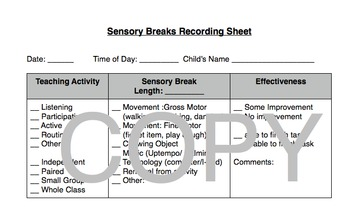 Sensory Break Recording Sheets