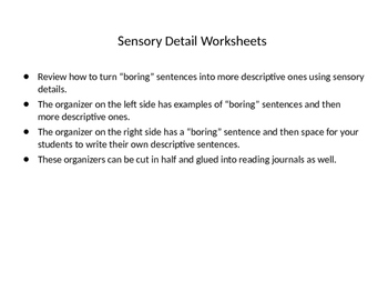 Sensory Detail Graphic Organizer and Practice
