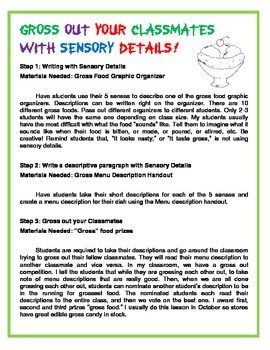 Sensory Detail Gross Out Competition!