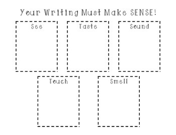 Sensory Detail Notebook Word Chart