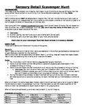 Sensory Detail Scavenger Hunt: Grades 4, 5, 6, 7, 8