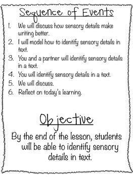Sensory Detail Unit Plan: 6 lessons, 130 slides