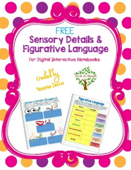 Sensory Details & Figurative Language for Digital Interactive Notebooks