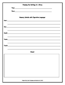 Sensory Details Graphic Organizer (in black & white)