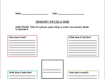 Vivacious Vocabulary Sensory Details Powerpoint and Study Packet