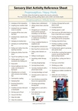 Sensory Diet Activity Reference Sheet