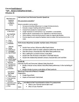 Sensory evaluation of food lesson plan by facs skills for - Design and technology lesson plans ...