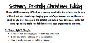 Sensory Friendly Christmas Handout