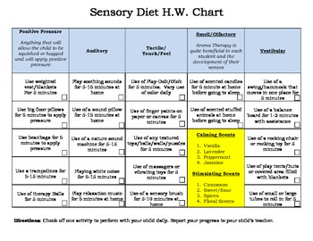 Sensory Homework Chart for Parents