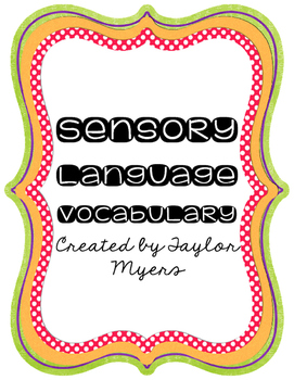 Sensory Language Vocabulary