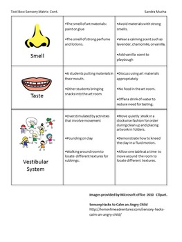Sensory Matrix for Students with Autism