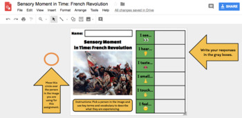 Sensory Moment in Time: French Revolution (Google Drawing Activity!)