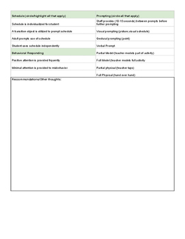 Sensory Observation Data Sheet