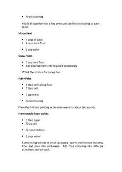 Sensory Play Recipes