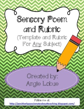 Sensory Poem Template & Rubric: Poetry For Any Subject