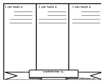 Sensory Poem Template For Smell Taste Touch By Elementary Teacher