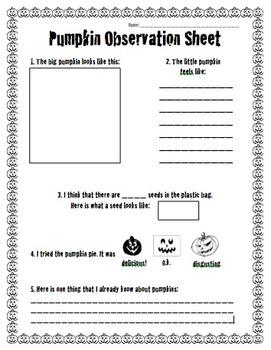 Sensory Pumpkin Observation Sheet