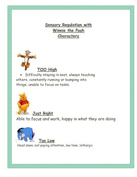 Sensory Tips in the classroom Tigger, Pooh  & Eyore characters