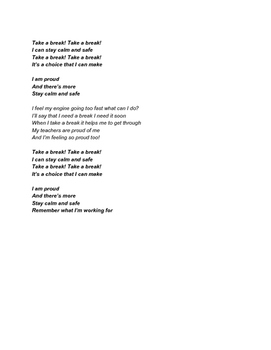 "Sensory Song ""Take A Break"" Lyrics (to the tune of Let It Go)"