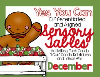 Sensory Table - Sensory Bin Activities, Task Cards and Printables for December