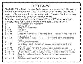 Sensory Table - Sensory Bin Activities, Task Cards and Printables for December