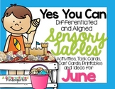 Sensory Table - Sensory Table Activities, Task Cards and Printables for June