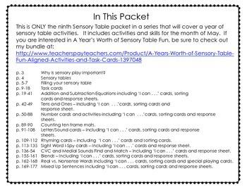Sensory Table - Sensory Bin Activities, Task Cards and Printables for May