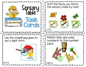 Sensory Table - Sensory Bin Activities, Task Cards Printables For April