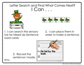 Sensory Table - Sensory Bin Activities, Task Cards, Printables for March