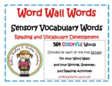 Sensory Vocabulary Word Wall Words with Worksheets