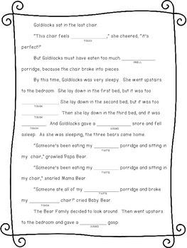 Sensory Word Mad Lib: Goldilocks and the Three Bears