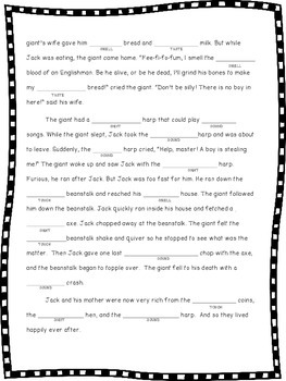 Sensory Word Mad Lib: Jack and the Beanstalk