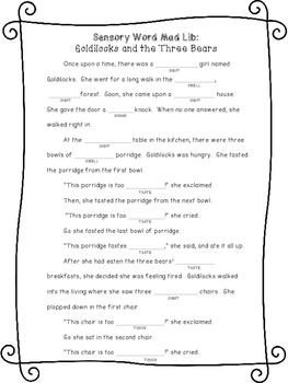Sensory Word Mad Libs: Fairy Tale Bundle
