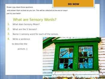 Sensory Words Power Point