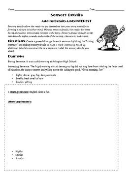 Sensory Writing Sentence Edit