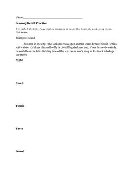 Sensory detail practice worksheet