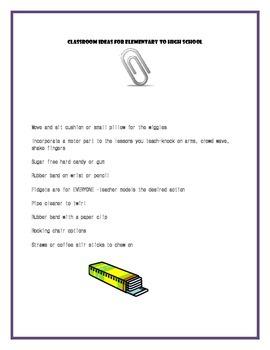 Sensory ideas for the classroom