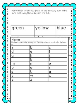 Sensory tub activity sheets