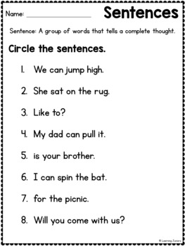 Types of Sentences Review for Beginners