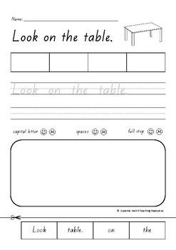 Sentence Activity Sheets – 4 word sentences – glue, trace, write, check & draw.