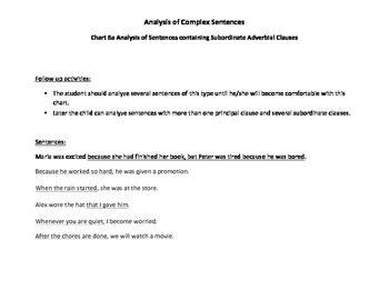 Sentence Analysis Chart 6a