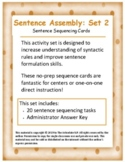Sentence Assembly SET 2: Word Order - Sentence Sequencing Cards