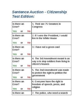 Sentence Auction - Citizenship Test Edition