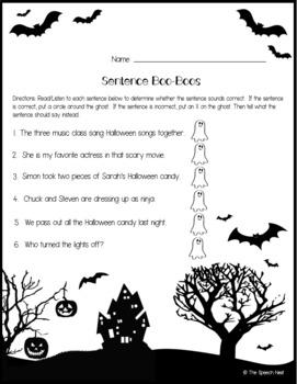Sentence Boo-Boos - A Halloween Themed No Prep Grammar Activity