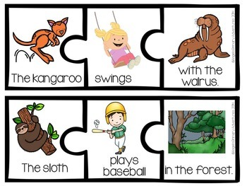 "Sentence Builder Cards: ""At the Zoo"" Theme"