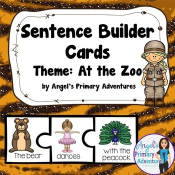 Sentence Building Cards At the Zoo