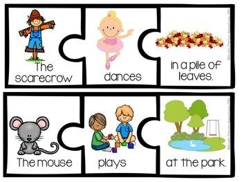 Sentence Builder Cards:  Autumn Themed