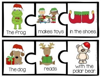 Sentence Builder Cards:  Christmas Themed