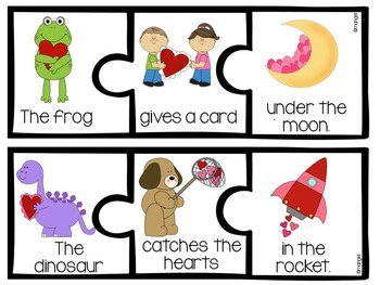 Sentence Builder Cards:  Valentine's Day Themed
